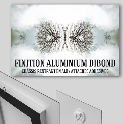 finition alu dibon attaches adhésives ou chassis rentrant en alu